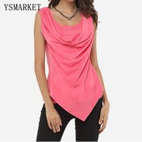 Wholesale Womens Vests Size Xl Blue - 2017 Summer Plus Size XL Womens Sexy Sleeveless Cowl Neck Vest Tops Solid Colors Draped Wrap Tank Shirt Female Slim Blouse E6608