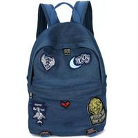 Wholesale bag blue jeans backpack resale online - Jeans backpack Denim fabric school bag Sexy blue daypack Cool schoolbag Outdoor rucksack Sport day pack