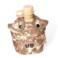 askeri su ısıtıcısı toptan satış-Açık Ordu Askeri Su Şişesi Kantin Su Isıtıcısı + Alüminyum Alaşım Piknik Kutusu + Ordu Yeşil Bez Kapağı Setleri