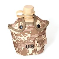 Wholesale Military Water Canteens Plastic - Outdoor Army Military Water Bottle Canteen Kettle + Aluminum Alloy Picnic Box + Army Green Cloth Cover Sets