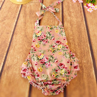 Wholesale Everweekend Baby Girls Floral Ruffles Rompers Summer Halter Sweet Baby Toddler Clothing Fashion Baby Infant Cloth