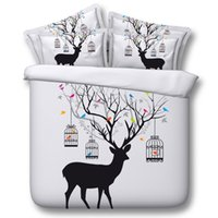 Wholesale White Twin Fitted Sheet - Bright White Elk 3D Bedding Sets Universe Outer Space Duvet cover Bed Sheet   Fitted Bed Sheet pillowcase Twin Full queen size