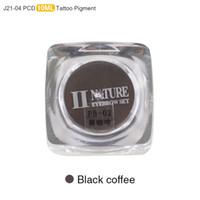 tinta negra para maquillaje permanente al por mayor-Al por mayor - PCD Tinta de maquillaje permanente Labio tatuaje Tinta Conjunto Ceja Microblading Pigmento Profesional 10ML 3 PCS Café Negro J21