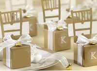 Wholesale Silver Wedding Bomboniere - Silver Golden Chair Bomboniere Candy Box Wedding Favor Gift Box Wedding Decorations Candy Boxes with Heart pendant & ribbon