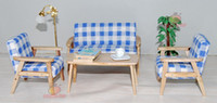 Wholesale Wood Living Room Furniture Sets - Wood 4pcs Sofa Chair End Table In Blue Stripe Couch Model Set For Living Room 1:12 Dollhouse Miniature Furniture
