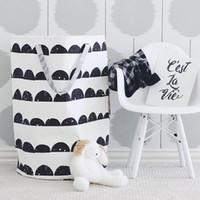 ko großhandel-Baby Canvas Stoff Spielzeug Aufbewahrungstasche Organizer Kinder Runde Ablagekorb mit Griff Falten Wäschekorb Tasche für Kleidung 40X50 CM