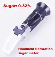 Wholesale Brix Meter - Hand held brix Refractometer tester meter with ATC +calibration oil Sugar: 0-32% tools for Fruit Vegetables Juice