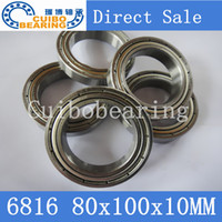 Wholesale Thin Wall Ball Bearings - Wholesale- Free shipping bearing 6816 6816ZZ shielded cover thin wall deep groove ball bearings 61816 61816ZZ 80*100*10mm