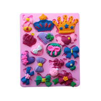 Wholesale Rubber Candy Molds - Baking Molds Silicone Crown Fondant Mold Bow Candy Chocolate Molds Chocolates Handmade Soap Make Mold OOA2701