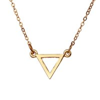 Wholesale Triangle Circle Pendant - Dogeared Hot Sale Balance Triangle Gold Silver Plated Pendant Necklace Sample Clavicle Chains Fashion Statement Necklace Women Jewelry