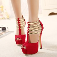2017 New Luxury Gold Strap Ballroom Dance Shoes Sandálias de salto alto para mulheres Red Heels Elegant Wedding Bridal Shoes