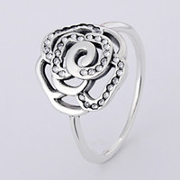 Wholesale 925 Silver Rose Flower Ring - Authentic 925 Sterling Silver Ring Openwork Pave Rose Flower With Crystal Ring For Women compatible with Pandora jewelry HRA0157