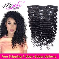 Wholesale Virgin Hair Deep Wave Clips - 7A Virgin Human Hair Malaysian Clip In Extension deep wave Full Head Natural Color beauty hair 7Pcs lot 12-28 Inches by Ms Joli