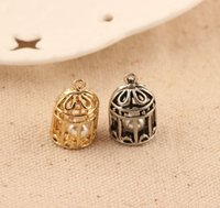 Wholesale Bird Cage Pendant Charm - Free Shipping 10pcs Zinc Alloy Antique Gold Silver Plated 3D Bird Cage Shape With Imitation Pearl Charms Pendant For Jewelry Makings 12*20mm