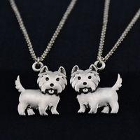 Wholesale Unique Pet Gifts - Drop Shipping Vintage Silver Cute Westie Dog Pendant Necklace Animal Pet Long Chain Big Necklace For Women Men Jewelry Unique Gift Colar