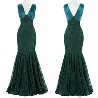 Wholesale Hot Mermaid Dress - V-Neck Green Lace Mother of the Bridal Dresses Mermaid Custom Made Zipper Draped Floor-Length Real Photos Hot Sale Elegant Long Evening Gown
