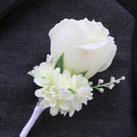 korsaj mor toptan satış-Fildişi Mor Beyaz Blue10 Renk Aavailable Toptan-İyi Adam Düğün Yaka Çiceği Damat Pin Broş Gül Korsaj Suit Çiçek Aksesuarları