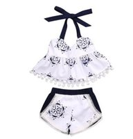 Wholesale Blue White Porcelain Clothing - Baby Girls Clothes Sets Blue and White porcelain 2pcs Outfits Set Chinese Style Girls Sunsuit Tassel Vest+Shorts Ins Clothes 608