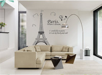 Wholesale Large Paris Wall Decals - Paris Eiffel Tower Removable Vinyl Art Decal Mural Wall Sticker For Home Living Room Bedroom Bathroom Kitchen