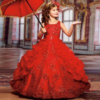 Wholesale Gold Pageant Gowns For Girls - 2017 New Sparkly Girls Pageant Dresses for Teens Red Ball Gown Beads Lace Embroidery Kids Evening Prom Dresses