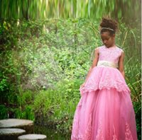 Wholesale Gold Stitching Wedding Dress - Lovely Pink Flower Girls Dresses For Girlfriend Bridesmaid Lace Appliques With Bow Sash Graduation Dresses Children Cross Stitch Prom Dress