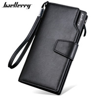 Wholesale Korean Dresses New Fashion - Fashion New Baellerry Luxury Brand Men Wallets Long Men Purse Wallet Male Clutch Leather Zipper Wallet Men Business Male Wallet Coin Pocket