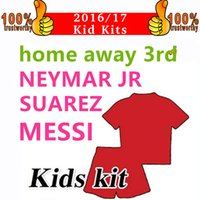 Wholesale Messi Away - 2018 MESSI NEYMAR INIESTA PIQUE SUAREZ Child Jersey 17 18 Home Red Green Away Blue Purple 3rd Green Futbol Shirts Kids Boy Kits