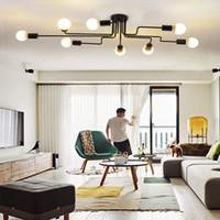 Wholesale Long Hanging Lights - Personality ceiling lamp rattan pendant lamp vintage lights led long iron hang lamps ceiling light fixtures,lamp customization