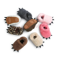 Wholesale Paws Boots - Winter Lovely Soft Sole First Walker Infant Toddler Super Keep Warm Snow Shoes Newborn Anti-Slip Monster Paw Prewalkers Boots Shoes F444