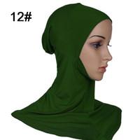 islamische hüte großhandel-Großhandels- 1pc 43x45cm plus Größe modaler Moslem unter Schal-Hut-Kappen-Knochen-Mütze Hijab islamischer Kopf-Abnutzungs-Hals-Kasten-Abdeckung wählen 20 Farben aus