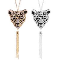 Wholesale Leopard Long Necklace - Hot Sale Leopard Head Long Sweater Chain Pendants & Necklaces Animal Head Tassel Rhinestone Women Tassel Long Necklace Colar