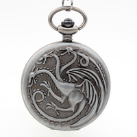 Wholesale Womens Dresses Necklace - Wholesale- Vintage House Targaryen A Song of Ice and Fire Silvery Grey Quartz Pocket Watch Necklace Mens Womens Xmas Gift reloj de bolsillo