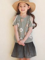 Wholesale Kids Clothes Jeans Skirts - Girls outfits 2017 summer new children flowers shoulder short sleeve T-shirt +jeans skirts 2pcs sets girls leisure sets kids clothing A0804