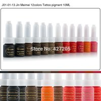 Wholesale Professional Permanent Makeup Eyebrow Inks - Wholesale-Golden Rose Permanent Makeup Ink Eyebrow Tattoo Ink Set 10ML 12 Colors Lip Microblading Pigment Professional Encre A Levre