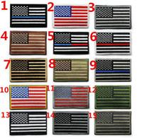 ingrosso jean cappelli-American Flag Patches Uniforme militare bordo oro USA può stiratura applique jeans tessuto adesivo patch per cappello decorazione M021