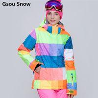 Wholesale Warm Waterproof Winter Jackets - Wholesale- 2016 Gsou Snow Winter Snowboard Jacket Women Ski Jacket Women Ski Wear and Snowboard Skiing Clothing Warm Waterproof Plaid