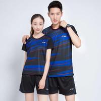 Wholesale Xxl Sweat Shirts - New badminton suit (shirt + shorts), men and women summer breathable sweat absorption badminton sports shirts, tennis shirts, free shipping
