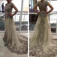 Wholesale Sexy Kleider - Elegante Evening Gowns Lange Abendkleider 2017 Abaya Dubai Kaftan Perlen Applique Spitze Abschlussball-kleider Robe De Shining 2017