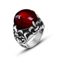 Wholesale Engraved Guitars - New Fashion red and black Jewelry Stainless Steel Mens Ring Titanium Steel Engraved Guitar Punk Rock Classic Rings for Men