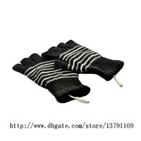 Wholesale USB Gloves Winter Laptop Half Finger USB Heating Warm Hot Hands Gloves Plush Patchwork Striped Knit Glove