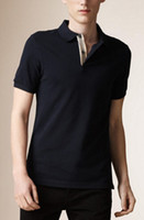 Wholesale Solid Color Mens Tees - 2017 Mens Casual T Shirt Brit Style 100% Cotton Polo Tee Shirts Summer Autumn Leisure Sport Shirts Spring British Solid T-shirt S-XXL