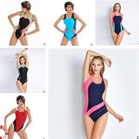Wholesale Fitness Bikini Women - Bikini Swimwear Women One Piece Professional Fitness Training Sports Push Up Padded One Piece Swimsuit Elastic Beachwear Biquini Monokini