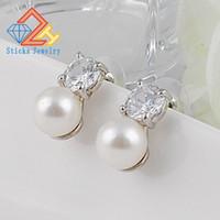 Wholesale Long Diamond Earrings Wedding - Female AAA CZ Crystal Earrings Charm Flower Pattern Pearl Long Vintage Stud Earring For Women Wedding Party Jewelry 2017