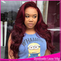 Wholesale Long Lace Front Wig Red - Hot Sexy Burgundy Red Body Wave Long Wigs with baby hair Glueless Brazilian Synthetic Lace Front Wigs for Black Women Heat Resistant