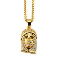 Wholesale Jade Jesus Pendant - Fashion Jewelry Men Charms Jesus Piece Necklace Long Chains Design Filling Pieces Male Hip Hop Rock Mens Pendants Necklaces