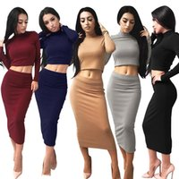 Wholesale Winter Work Dresses For Women - Dresses For Womens 2017 New Arrived Autumn Winter Solid Sexy Turtleneck Long Sleeve Black Grey Red Female Dresses Women Clothes