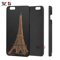 Wholesale Tower Mobile Cover - Paris Tower Mobile Cell Phone Case for iPhone 6 6s 6 s PC Back Cover Black Frame Wooden pattern Engraving Case Drop Shipping