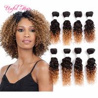 renk 32 saç örgüsü toptan satış-Brezilyalı saç demetleri insan saçı ombre kahverengi, böcek 8 demetleri gevşek dalga bordo renk örgü demetleri Brezilyalı insan örgü saç kinky kıvırcık