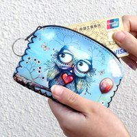 Wholesale Owl Changing Bag - Wholesale- New graffiti cat elephant owl coin purse,Change purse card holder Handmade Hem wallets purse women clutch zipper coins bag pou