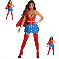 Wholesale wonder woman costume online - Halloween Costumes For Women Wonder Woman Costume Adult Sexy Dress Cartoon Character Costumes Clothing Halloween Costumes Piece YYA151